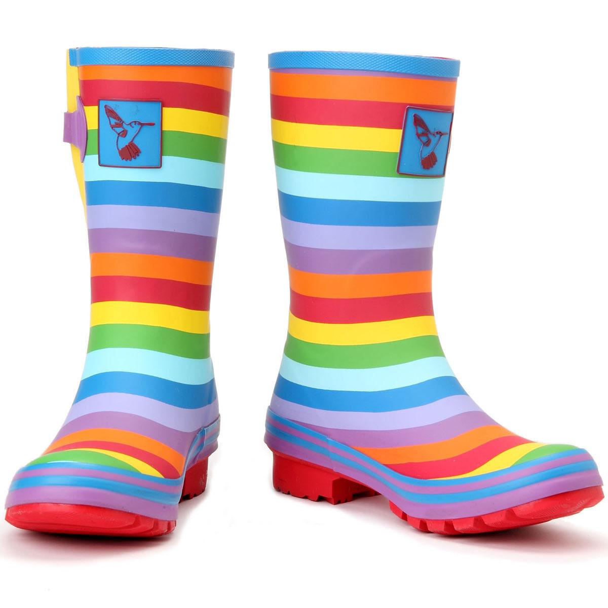 Evercreatures UK Brand Rainbow Rubber Rain Boots Wellington boot for women
