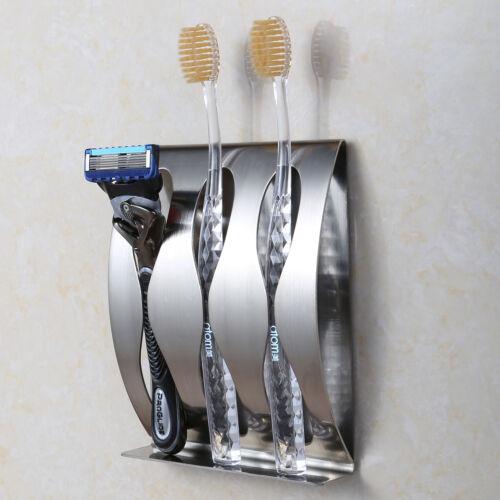 3 holes Stainless Steel Toothbrush Razor Holder  Bathroom Accessories Organizer