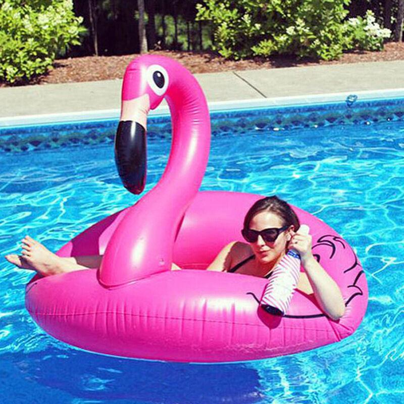 Pink Inflatable Giant Flamingo Shaped Pool Float Ring Raft Swimming Water Fun - unbranded - ebay.co.uk