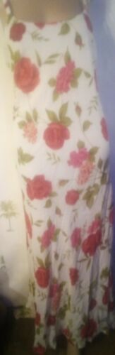 Vintage 90s floral leaf red & white maxi summer be