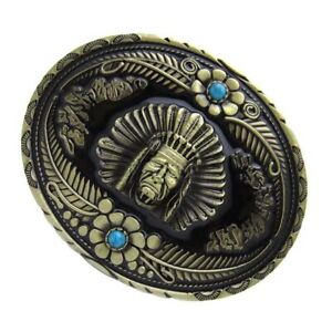Western-Rodeo-Bronze-Indian-Tribal-Chief-Belt-Buckle-with-Blue-Rhinestone