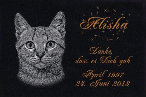 GRANIT Grabstein Tiergrabstein Gedenkstein Katze-G07 ► FOTO GRAVUR ◄ 20x15 cm