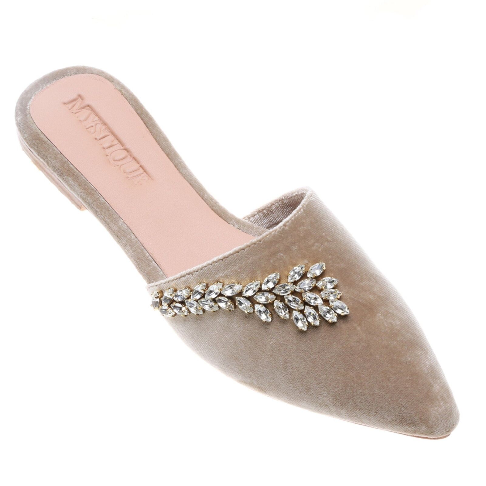 MYSTIQUE Alaska Nude Velvet Emellited Crystal  Mules Sandals Flats  qualità autentica