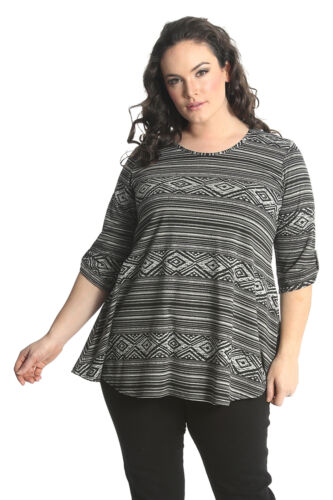 New Womens Top Plus Size Ladies Aztec Tribal Print Button Blouse Long Nouvelle