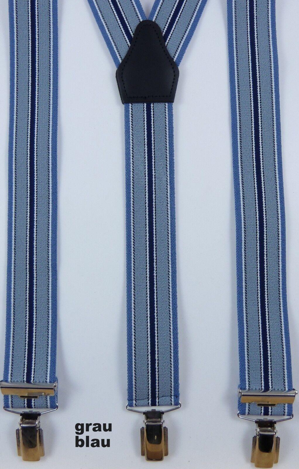 flotter 3er Klip Hosenträger, moderne Farben, 35 mm breit,120 cm lang