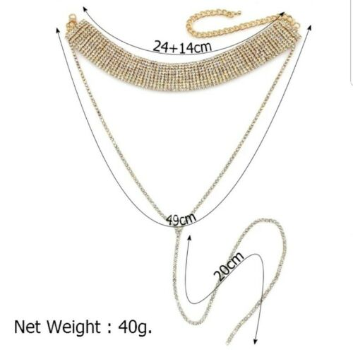 Celebrity Style Sparkly Choker Necklace in Silver or Gold Colour