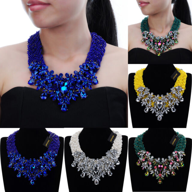 Arrow Charm Crystal Choker Chunky Statement Bib Necklace Jewelry Chain Pendant