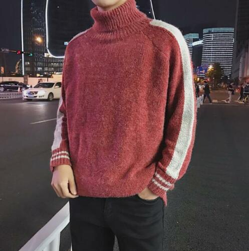 Men Winter Turtle Neck Loose Kniting Sweaters Students Thick Warm Turtleneck sz