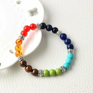 7 Chakra Healing Balance Beaded Bracelet Lava Yoga Reiki Prayer Stone Gift