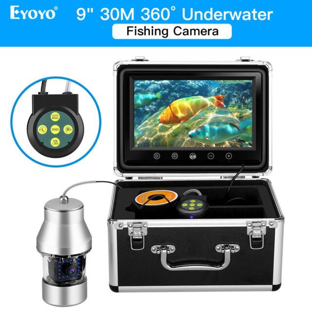 30M Underwater Fishing Camera 9 Inch 360°Fish Finder 18pcs Blue Light for Lake
