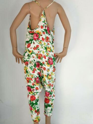 Elegante harem Overall Jumpsuit Pump Pantaloni Harem Pantaloni Motivo Floreale Tg 38-42
