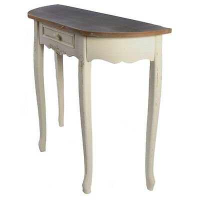 """SHABBY CHIC SIDE HALF MOON HALL TABLE 31"""" VICTORIAN STYLE ANTIQUE CREAM NEW"""