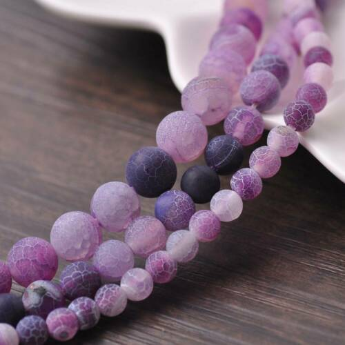 6//8//10mm Natural Round Purple Frosted Agate Stone Gemstone Loose Beads Lots DIY