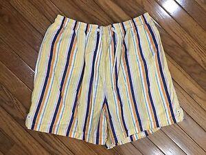 Faconnable-Mens-Striped-Swim-Trunks-Shorts-Bathing-Suit-Mesh-Liner-Size-L