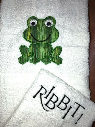 Ribbit Applique White Bathroom Hand Towel and Cloth Set Green Frog Smiling