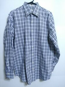 Peter-Millar-Mens-Size-Large-Blue-White-Plaid-Long-Sleeve-Button-Up-Dress-Shirt