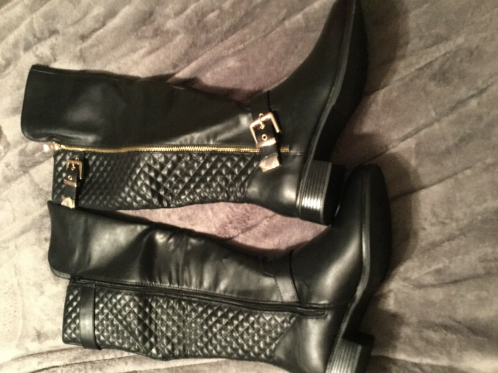 shoesdazzle flat boots Cersei black 9.5 with gold accents new in box