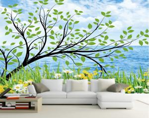 Papel Pintado Mural De Vellón Árboles Flores De Océano 2 Paisaje Fondo Pansize