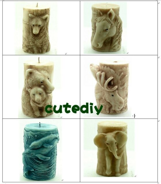 Wolf Horse Bear Deer Dolphin Elephant Cylinder Silicone Mould for Candle Soap
