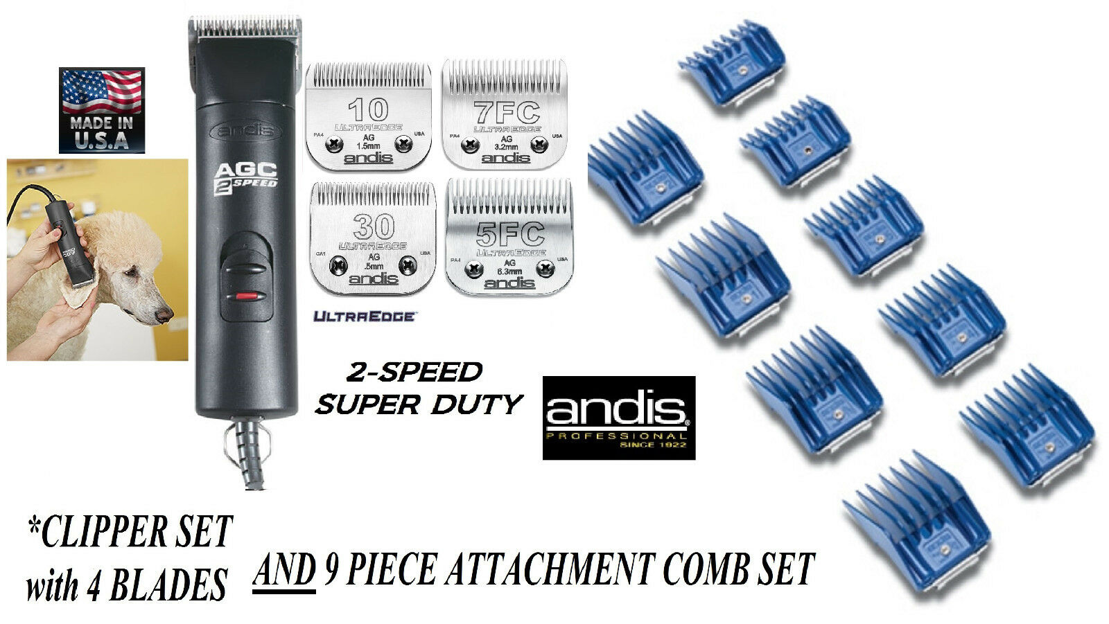 Andis Andis Andis SUPER PRO 2-Speed Clipper,4 ULTRAEDGE BLADES,9 GUIDE COMB SETPET Grooming 32ad8b