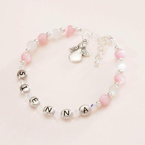 Geschenk personalisiert Namensgebung Tag Armband für Mädchen mit Engel Charme