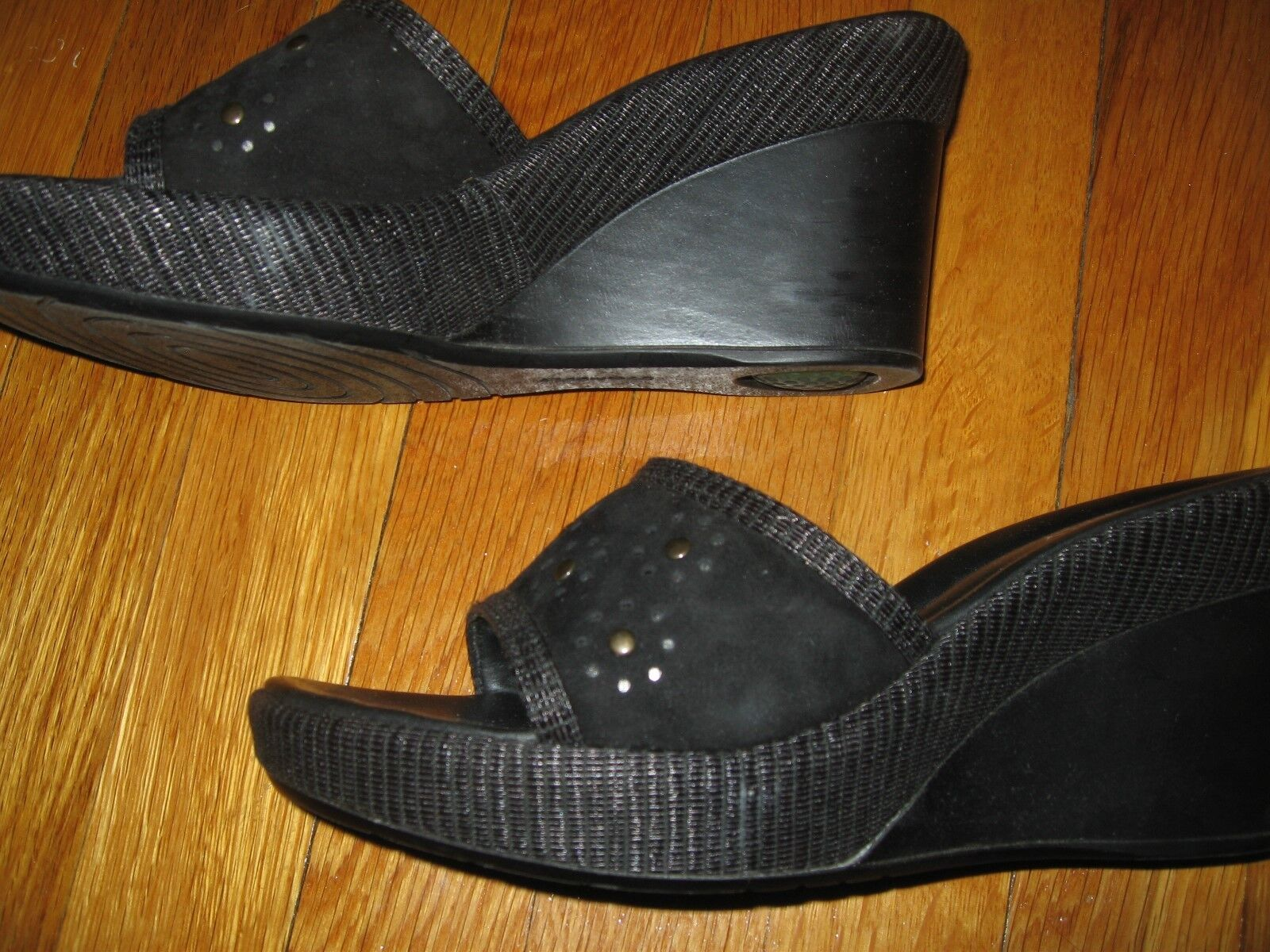Stonefly Comfort Black Suede Leather Slide Sandals SZ EUR 39 US WOMEN'S 8 MEDIUM