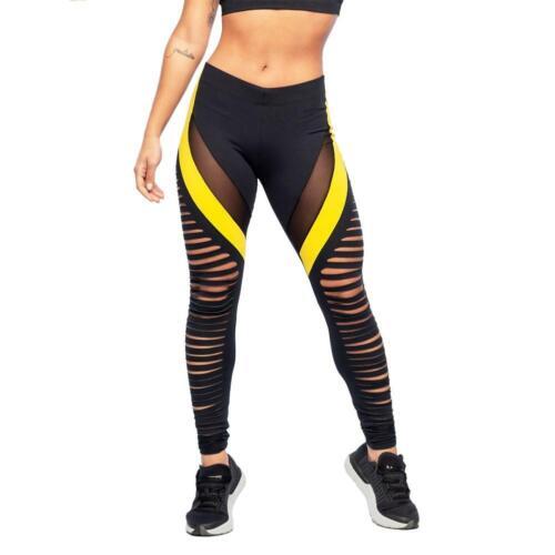 Mesh Chic Women Yoga Pants Sports Fitness Elastic Hollow Bandage Trousers  WT7n