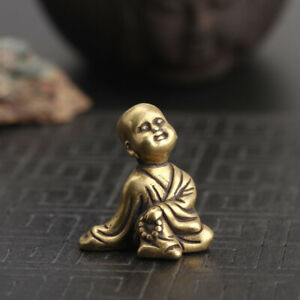 Chinese-Collection-old-Asian-Brass-young-Buddhist-monk-Exquisite-statue