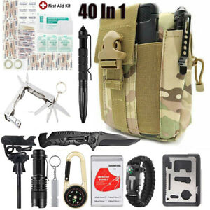 40PCS-Military-Survival-Kit-Outdoor-Camping-Emergency-Gear-Tools-Molle-Pouch-Bag