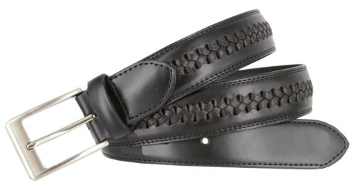 """Men/'s Woven Laced Braided Genuine Leather Casual Jean Dress Belt 1-3//8/"""" Wide"""