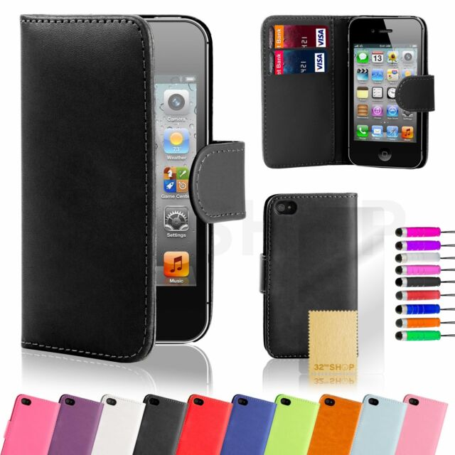32nd Book Leather Wallet Case Cover Apple iPhone 4/4S + Screen Protector Stylus