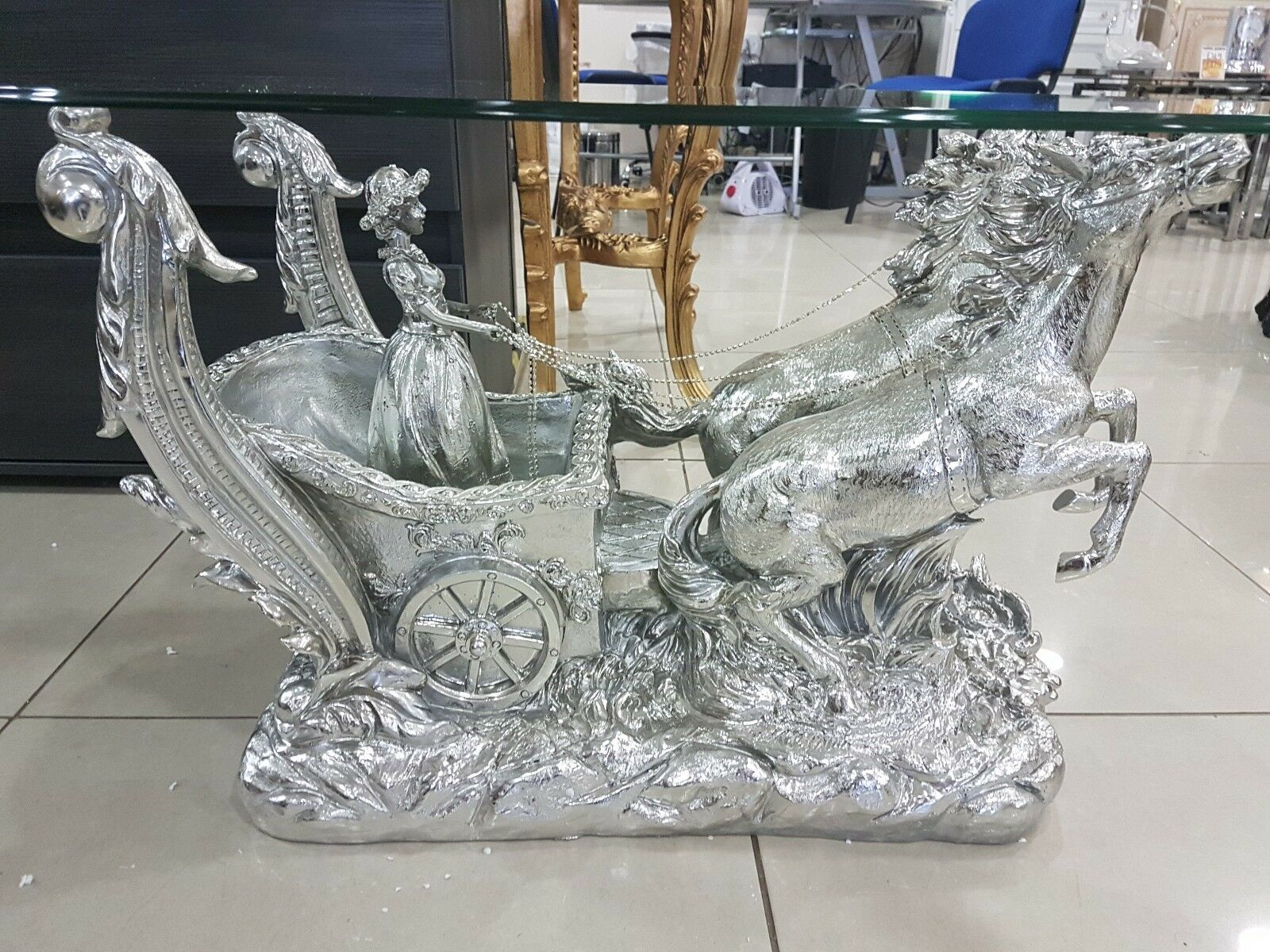 Italian Style Roman Horse Gold Silver Ivorygold Coffee Table