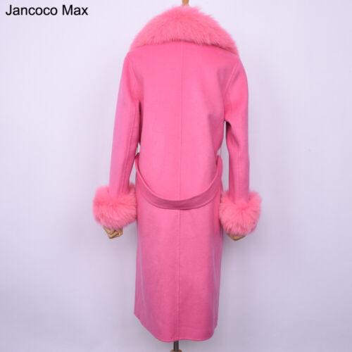 Lady Wool Trenchcoat Luxus lange warme Jacke Fox Fur Trim Dufflecoat 47519