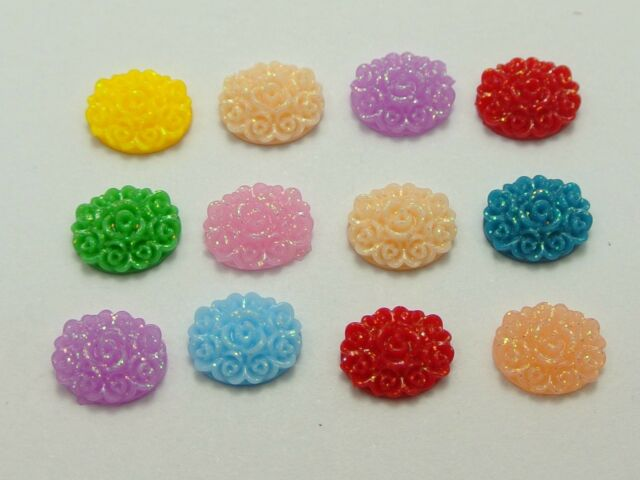 200 Mixed Color Flatback Resin Floral Oval Cabochons 10X8mm DIY Craft