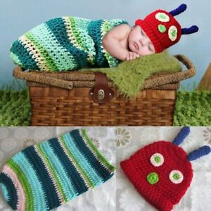 8e2121645 Details about Baby Stripe Caterpillar Crochet Knit Costume Photo  Photography Prop Hat Outfits