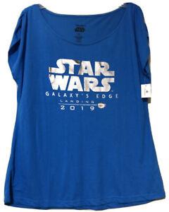 Disney-Parks-Womens-Star-Wars-Galaxys-Edge-Landing-Blue-Silver-T-Shirt-Size-XL