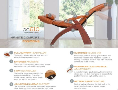 Black PC-610 Omni-Motion Human Touch Zero Gravity Perfect Chair Recliner WALNUT