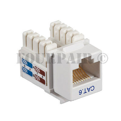 CAT6 Network RJ45 110 Punch Down Keystone Snap-In Jack 5 Pack Lot White