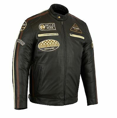 100% Wahr Pelle Fashion Motorbike Motorcycle Leather Jacket With Badges Wir Haben Lob Von Kunden Gewonnen