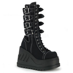 1bdfa20d8d1 Details about DEMONIA Stomp-210 Black Canvas Open Back Metal Buckle Wedge Platform  Boots Heels