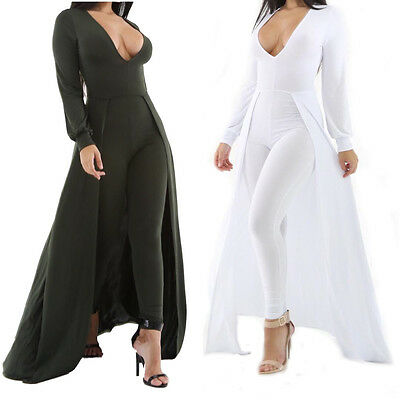 Sexy Womens Long Sleeves V Neck Bodycon Jumpsuit Long Trousers Club Party Suit