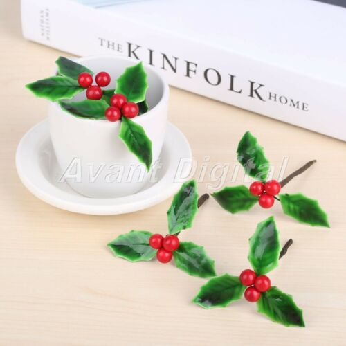 Decoration Artificial Berries Flowers Green Leaves DIY Christmas Ornaments 5Pcs