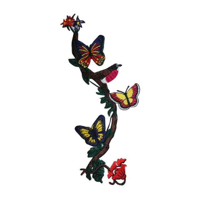 ID 5061 Butterflies On Vine Patch Nature Bug Craft Embroidered Iron On Applique