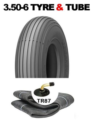 3.50-6 WHEELBARROW TYRE /& TUBE SET BENT METAL VALVE TR87 4PR RIB PATTERN TREAD