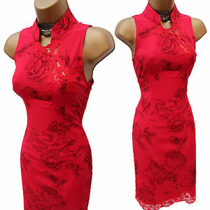 KAREN-MILLEN-8-UK-Silk-Red-Oriental-Floral-Lace-Bodycon-Cocktail-Wiggle-Dress