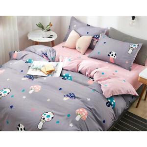 Gray-Cartoon-Bedding-Set-Duvet-Quilt-Cover-Sheet-Pillow-Case-Four-Piece-New