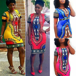 fa8128f2f614 Image is loading Womens-African-Printed-Short-Mini-Dress-Dashiki-Bodycon-