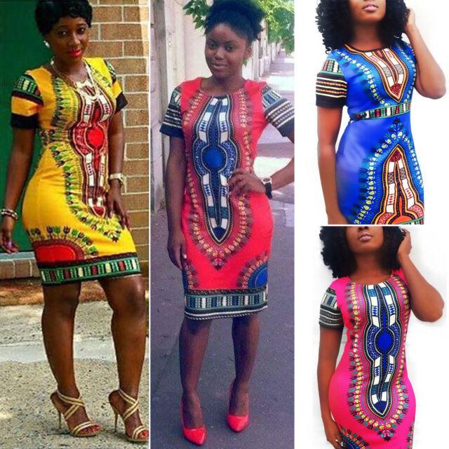 Women's African Print Dashiki Dress Bodycon Short Sleeve Tunic Mini Dresses US