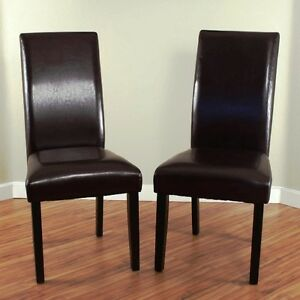 Details about Brown Leather Dining Room Chairs (Set of 2) Parson High Back  Chair Furniture NEW