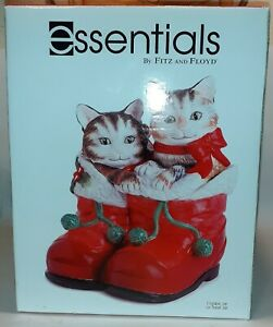 Essentials-By-Fitz-And-Floyd-Claus-And-Paws-Cookie-Jar-cats-kittens-Christmas